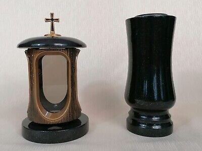 Grablampe Grabvase  Set Granit Schwedisch Schwarz Grablaterne