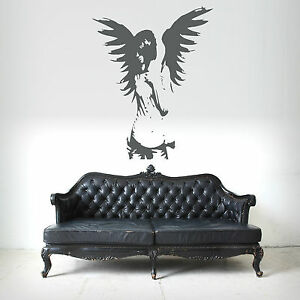 GOTHIC-ANGEL-FAIRY-GIRL-ANGEL-WINGS-wall-art-sticker-bedroom-decal