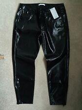 Mango Black Zipped Vinyl Patent Vinilo Trousers - UK 14 W32 L32 - NEW BNWT