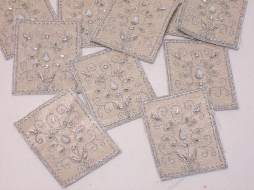 10 x Embroidered Gold Silver Beaded Diamante Art Crafts Card Making Motifs #8E43
