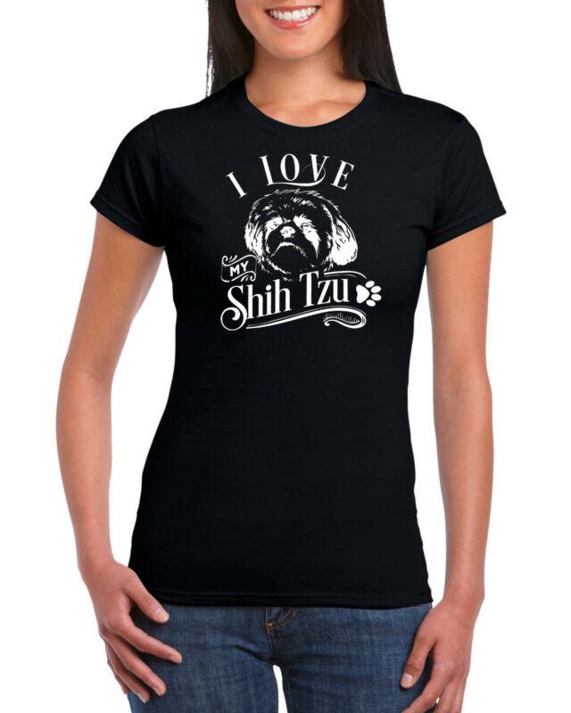 2019 Neuer Stil I Love Mein Shih Tzu Hund 100% Ringgesponnene Baumwolle Damen Rundhals T-shirt Elegante Form
