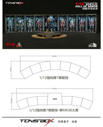 TOYS-BOX 1//12th Comicave SHF Iron Man Acrylic Hall of Armor Display Dust Box Toy