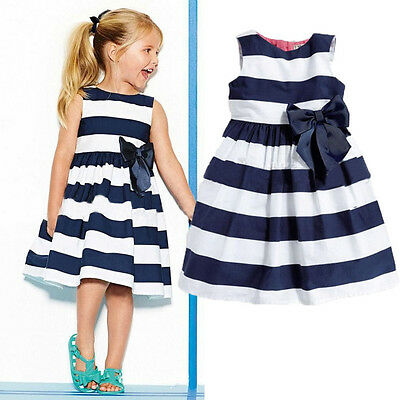 Free Shipping Princess Baby Kids Girls Dress Stripe Bow Party Gown Dresses 0-5Y