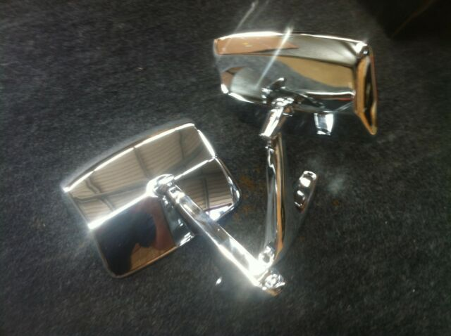 68-92 FORD F100 PARTS MIRROR PAIR NEW CHROME METAL SMALL CAR TYPE MIRRORS