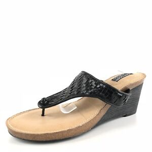9aa136eccc37c1 Details about Me Too by Adam Tucker Kain Women s Black Leather Woven Thong  Sandals Size 10 M