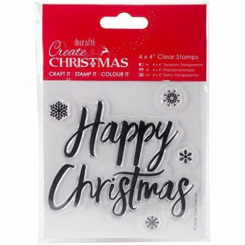 Papermania Create Christmas Clear Rubber Stamp Set Snowflakes & Happy Christmas
