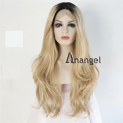 Golden Blonde Lace Front Wig Ombre Long Wavy Heat Resistant Synthetic Hair Wigs