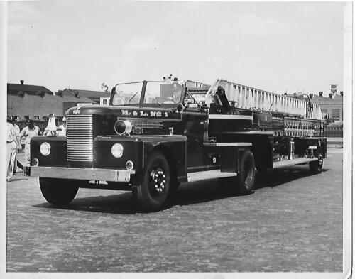 H. & L. Fire Dept ladder truck NJ Orig 7 34 x10 BW Photo B259