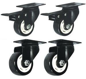 """Set of 4 Swivel Plate Casters 2.5"""" Polyurethane Wheels 2 with Total Lock Brake"""