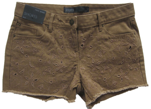 New Womens Brown NEXT Denim Shorts Size 16 14 12 10 RRP £25