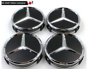 4-PCS-75mm-Mercedes-Benz-Matte-Black-Chrome-Logo-Wheel-Center-Caps