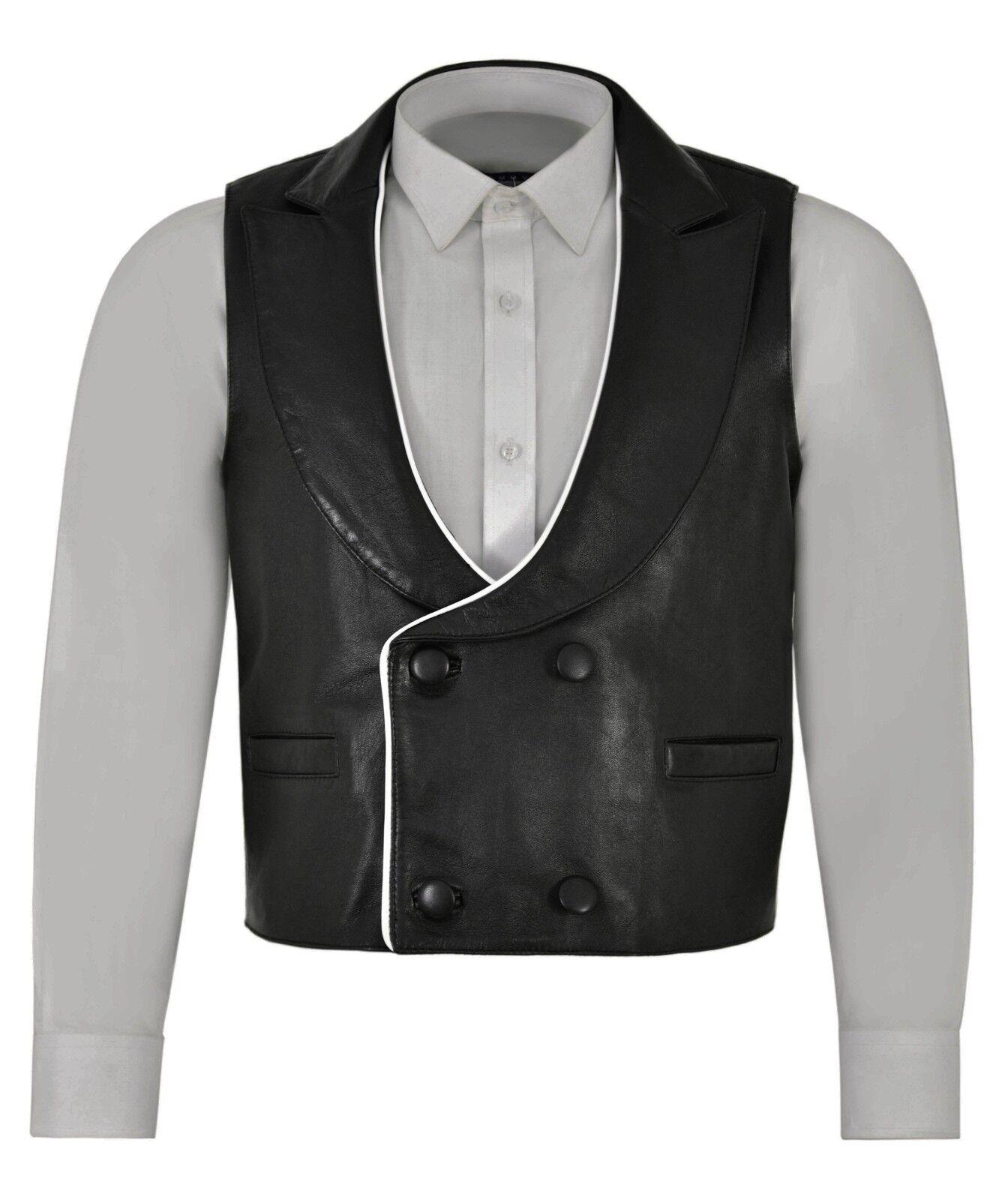 Hombres Chaleco De Cuero Verdadero Napa  Negro Con blancoo Recortar Steampunk estilo 3281-B  grandes ofertas