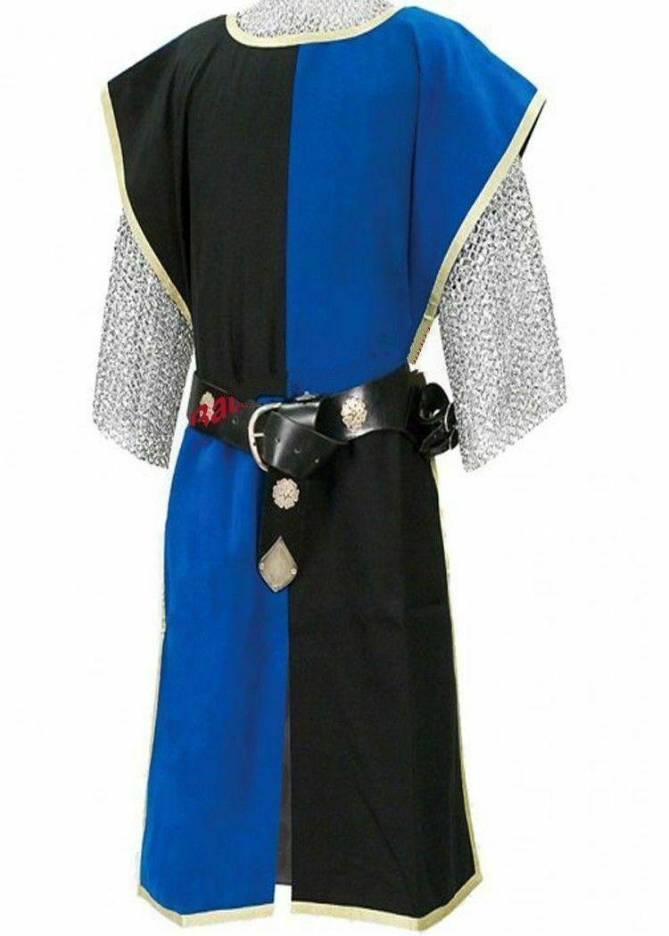Renaissance Costumes Blue/Black Tunic Knight Medieval Viking