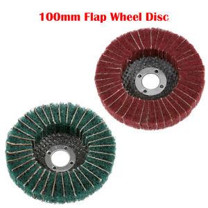 180-320-Grit-Nylon-Fiber-Flap-Wheel-Disc-100x16mm-Abrasive-Polishing-Buffing-Pad