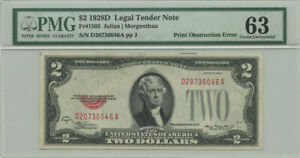 1928D $2 Legal Tender Note PMG Choice UNC 63 Print Obstruction Error Fr #1505