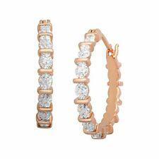 Hoop Earrings with Diamonds in 18K Rose Gold-Plated Brass