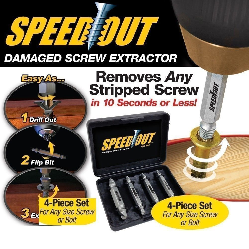 4PCS Speed Out Set Damaged Screw Extractor Bolt Bits Guide Tool Drill UK seller