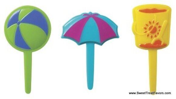 Beach LUAU CupCake Cake Topper 12 18 24 Decoration Toys HAWAII Umbrella Ball NEW