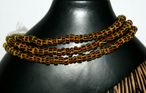 6 mm trade beads Strang jaune rouge noir strié de perles de verre du Ghana