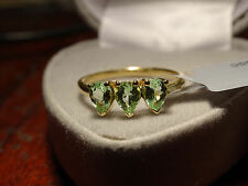 Rare Natural Paraiba Tourmaline Pear Trilogy 9K Yellow Gold Ring Size L-M/6