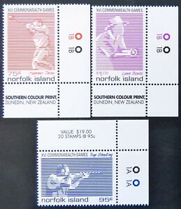 1998-Norfolk-Island-Stamps-XVI-Commonwealth-Games-Cnr-Set-of-3-Tabs-MNH