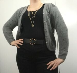 ladies-Country-Casuals-Cardigan-Floral-grey-Beaded-Angora-Size-L-Lambswool-Mix