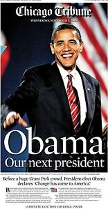 Chicago-Tribune-Newspaper-President-Barack-Obama-11-05-08-Inaugural-Year-History