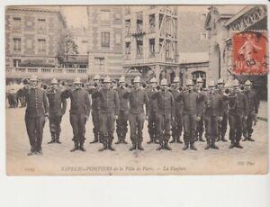 PORT-GRATUIT-carte-postale-Paris-Sapeurs-Pompiers-Ville-Fanfare-trompette-1903