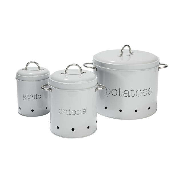 Kitchen Storage Containers For Sale: Set Of 3 Pantry Canister Tin Garlic Onions Potatoes