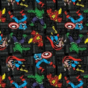 FAT QUARTER  MARVEL RETRO COMICS BLOCKS SUPERHERO SPRINGS CREATIVE COTTON FABRIC