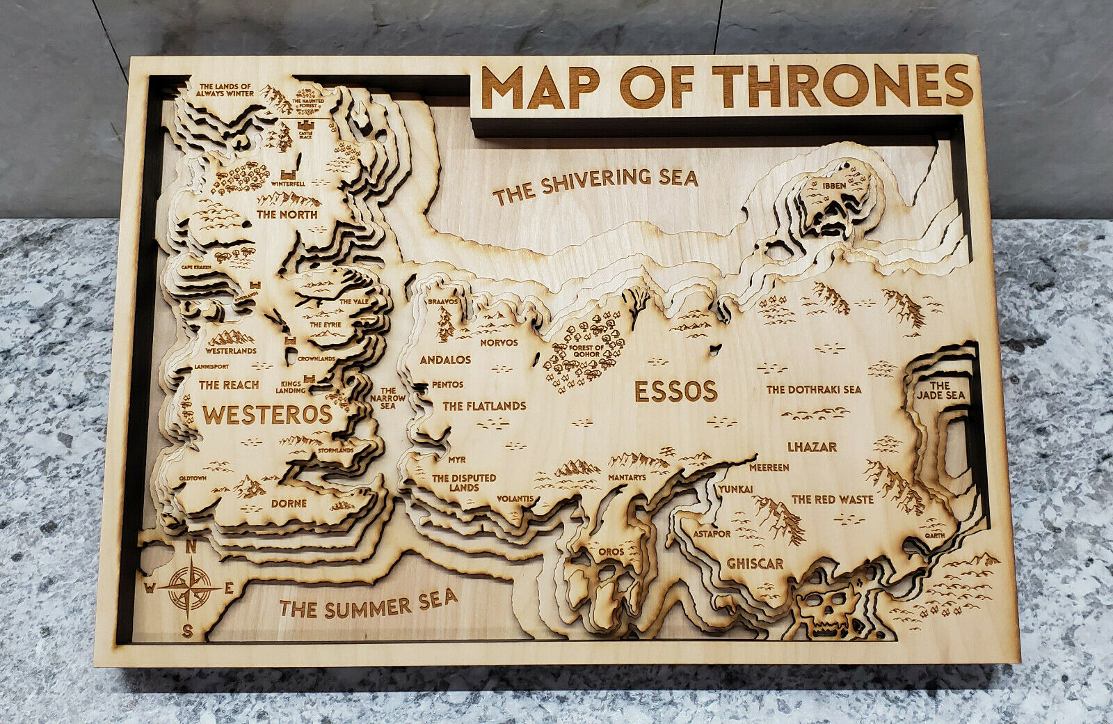 NEW Game of Thrones Wood 3D Topo Topographic Map  16  x 11.5