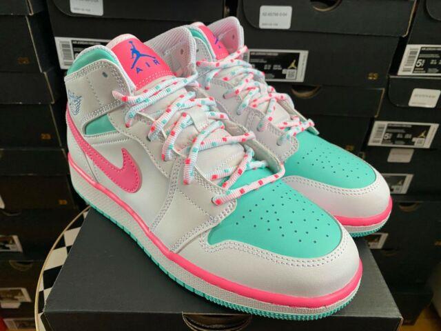 Air Jordan 1 Mid White Digital Pink Aurora Green Size 6y In Hand