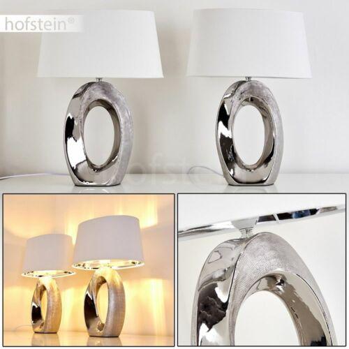 Stoff Nacht Tisch Lese Lampen 2er Set Schlaf Wohn Zimmer Leuchten Keramik silber