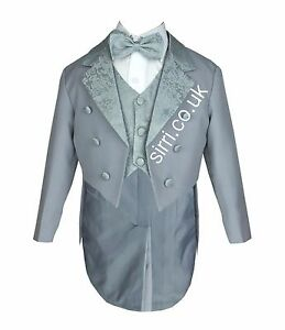 Baby-Boys-Grey-Tuxedo-Tail-Suit-5-Pieces-Christening-Wedding-Page-Boy-Outfit