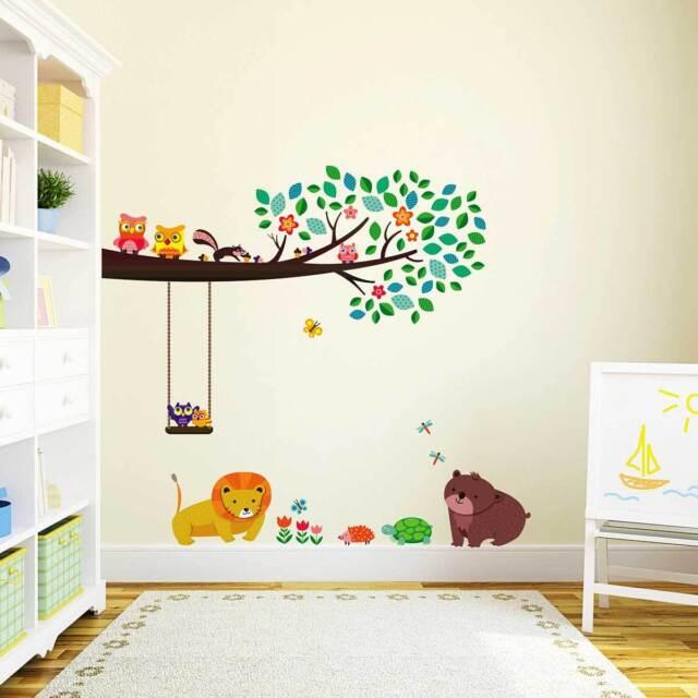 Wandsticker Kinderzimmer Ast Zweig Eule Waldtiere Tiere Wald Wandtattoo Baby Bar Ebay