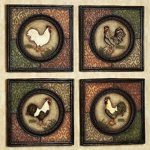 Image Is Loading Country Rooster Wall Plaques Set Of 4 Farm