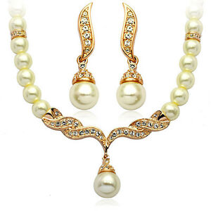 Wedding-Bridal-Jewellery-Set-Gold-amp-White-Pearl-Necklace-Studs-Earrings-S113G