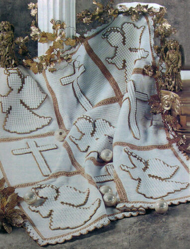 Crochet Pattern Only ~ Angel /& Cross Afghan ~ Metallic Thread ~ Christmas