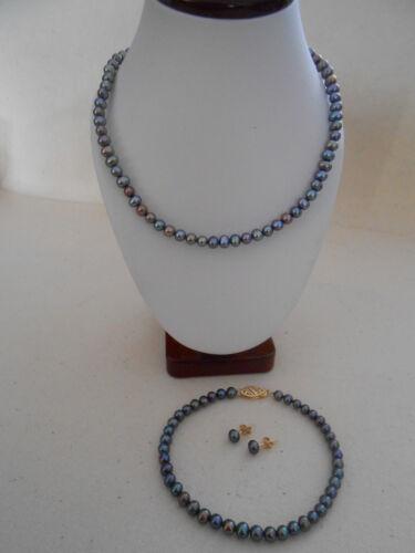14K RTI Black Pearl Necklace, Bracelet & Earring Set 515109
