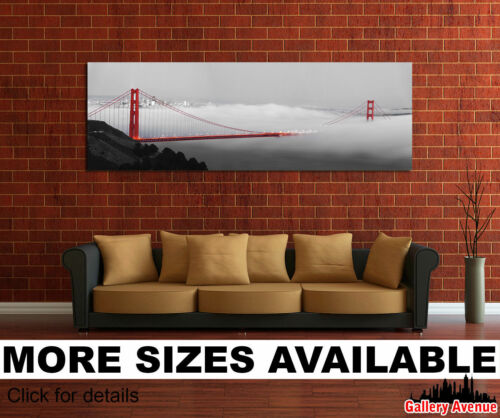 Wall Art Canvas Picture Print Golden Gate Bridge Panoramic Black White Red 3.1