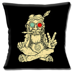 Ageing-Hippy-16-034-x16-034-40cm-Cushion-Cover-Vintage-Retro-60-039-s-Hippy-Smoking-Peace