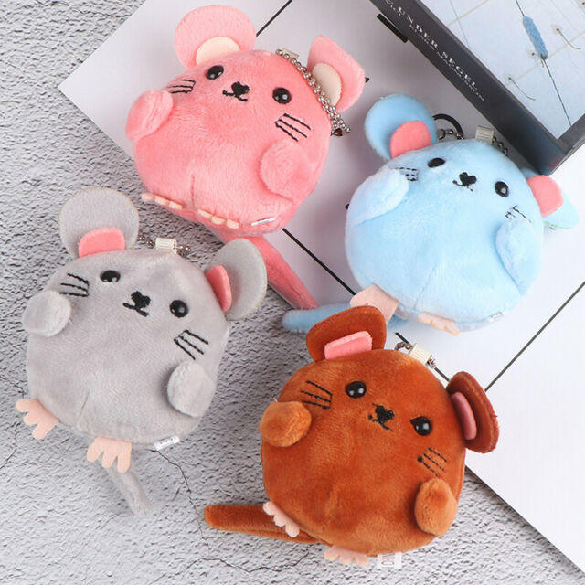 Plush keychain Soft Toy Bell Bag Charm Cute Stuffed Fluffy Mouse Stroller To`