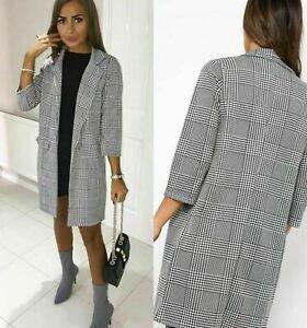 Women Check Hounds DoG Tooth Tartan Duster Coat Ladies 3//4 Sleeves Jacket Blazer