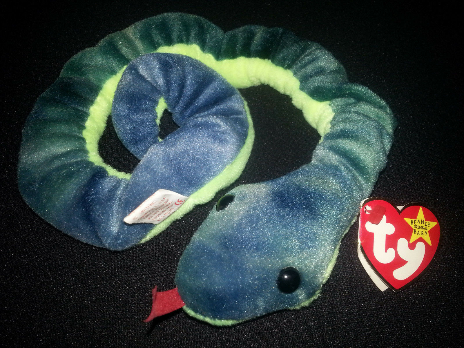 Original Ty Beanie Baby HISSY Snake With Tag Rare 7 ERRORS Retired Spelling Mist