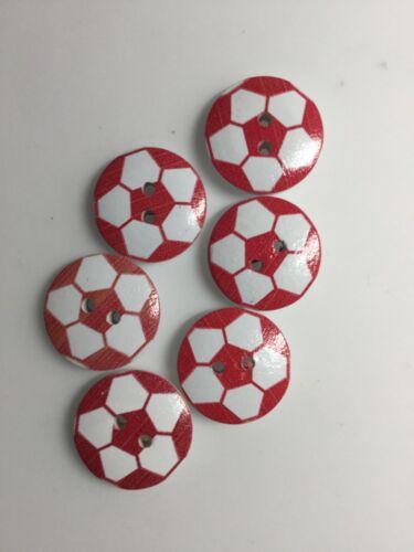Manualidades 2cm 20mm costura. 6 rojo y botones de Fútbol Madera Color Blanco