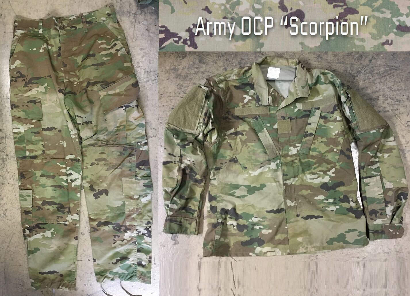 Us Army ocp acu Scorpion w2 Combat Uniform CAMUFLAJE GHILLIE chaqueta pantalón Small