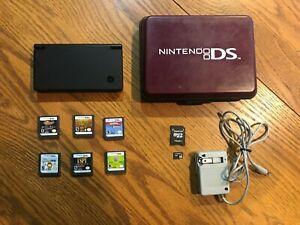 Nintendo DS DSi Black Handheld System Console Bundle Lot With 6 Games & Case!