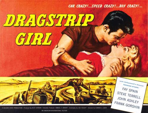 VINTAGE DRAGSTRIP GIRL MOVIE POSTER A4 PRINT