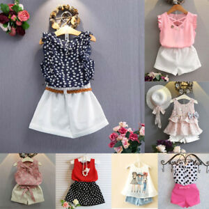 6daa049182be 3 Pcs Toddler Kids Baby Girls Outfits Floral Vest T-Shirt Shorts Set ...