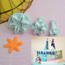 2 SETS OF 3 EMBOSSED SNOWFLAKE PLUNGER CUTTERS XMAS FROZEN CAKE CHRISTMAS TOOLS